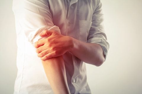 Photo illustration of Elbow pain